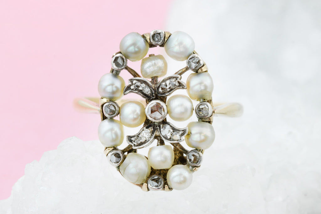 Belle Epoque Pearl Ring, with Rose Cut Diamonds