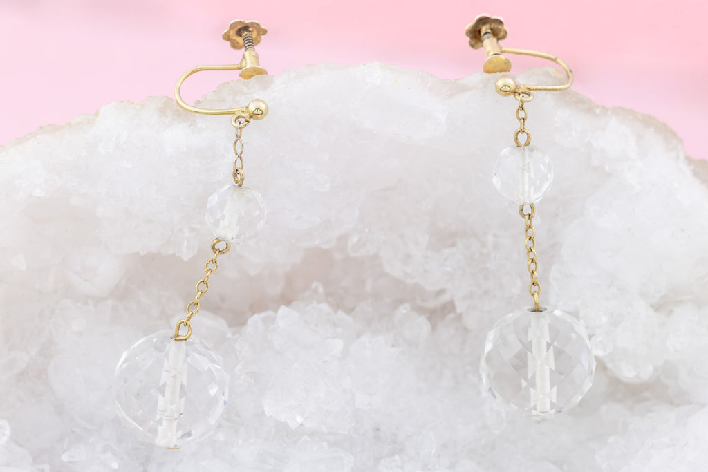 Art Deco Rock Crystal Earrings with 9ct Gold Screw-backs c.1920