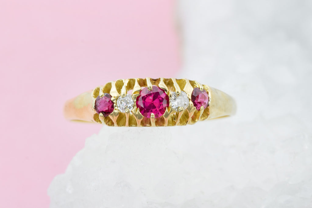 Antique Ruby & Diamond Boat Ring  c.1911