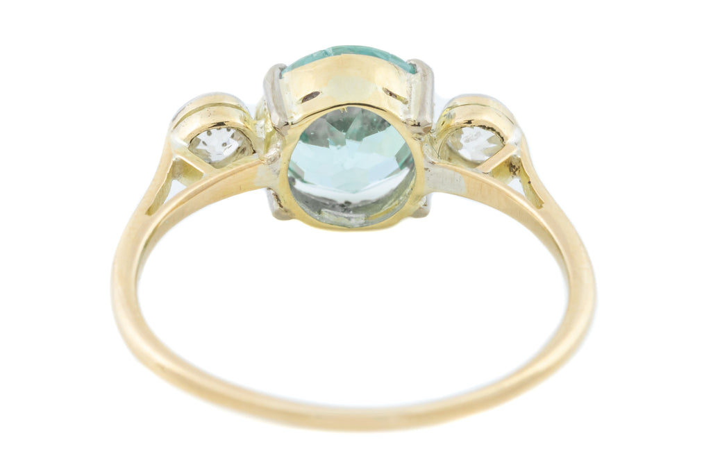 Art Deco Diamond and Zircon Ring - 14ct Gold Diamond Zircon Trilogy Ring