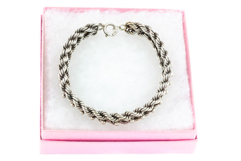 Victorian Silver Double Rope Chain Bracelet