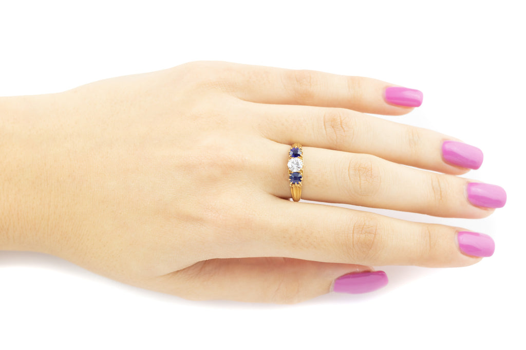 18ct Gold Antique Sapphire and Diamond Trilogy Ring c.1905