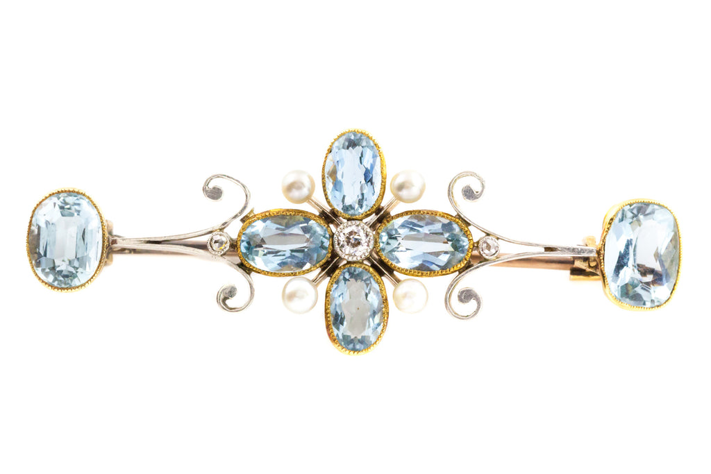 Antique 9ct Gold Aquamarine Diamond and Pearl Brooch