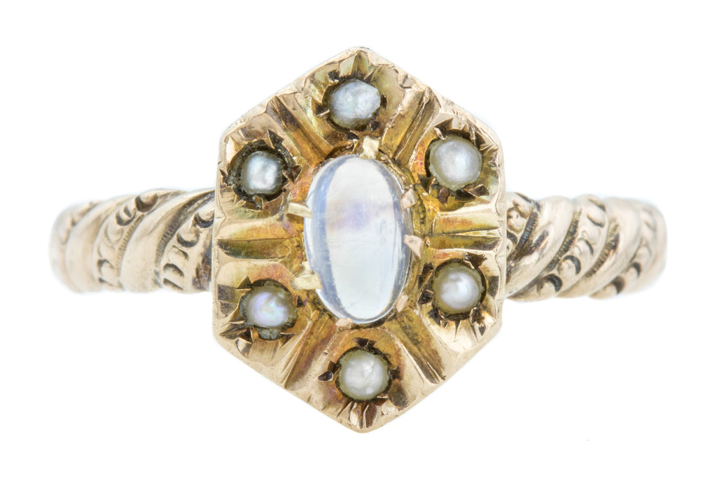 Antique Moonstone Pearl Cluster Ring