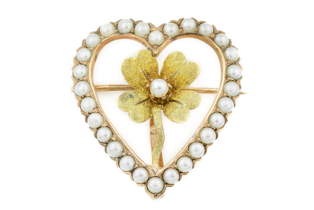 Edwardian Gold Pearl Heart Brooch with Lucky Clover c.1901