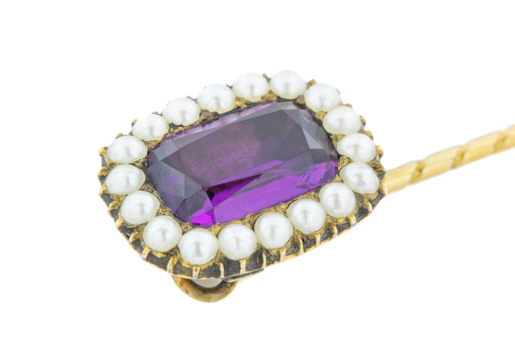 Victorian Amethyst Paste and Pearl Stick Pin