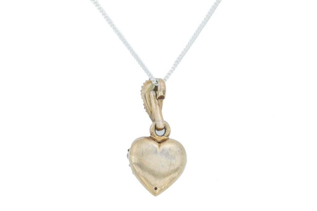 "Antique Silver Paste Heart Charm Pendant, with 18"" Chain c.1850"