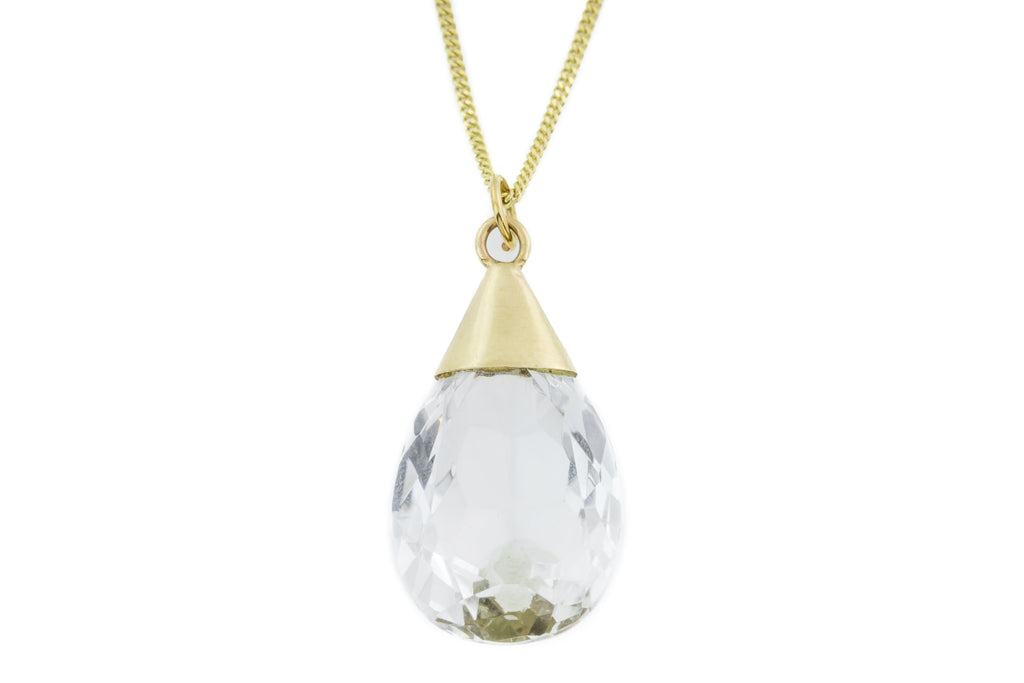 "Art Deco Rock Crystal Pendant c.1930, with 16"" Chain"