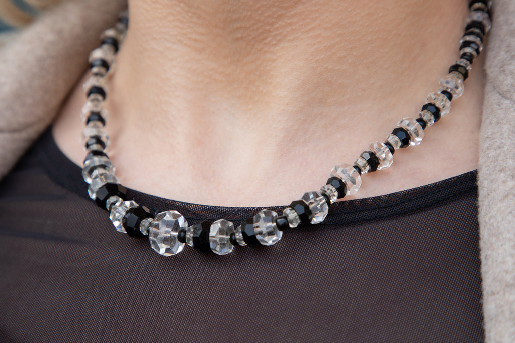 Art Deco Rock Crystal Obsidian Beaded Necklace, 16""