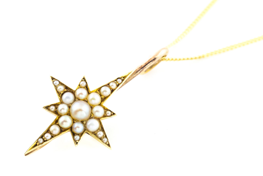Antique 9ct Gold Star Pearl Pendant (Chain included)