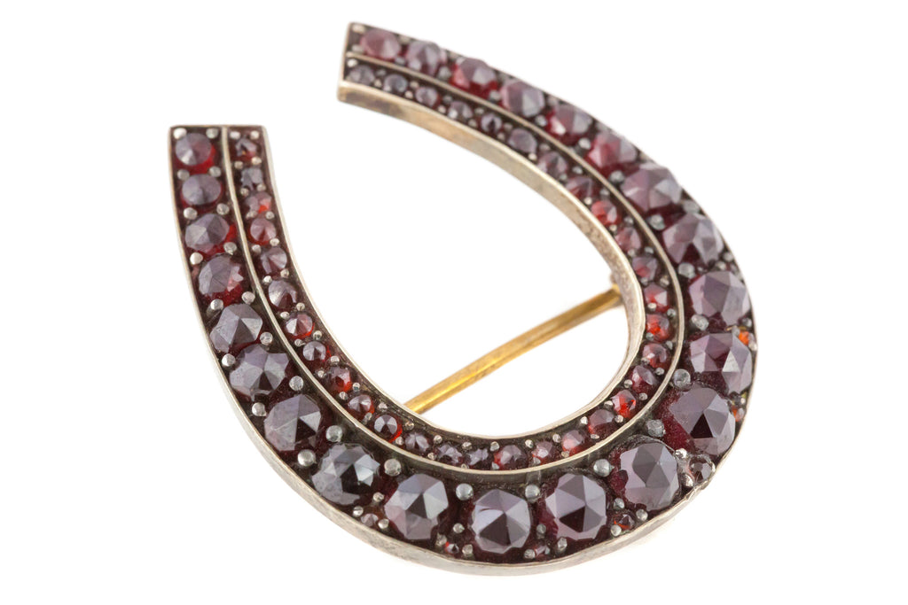 Antique Garnet Horseshoe Brooch