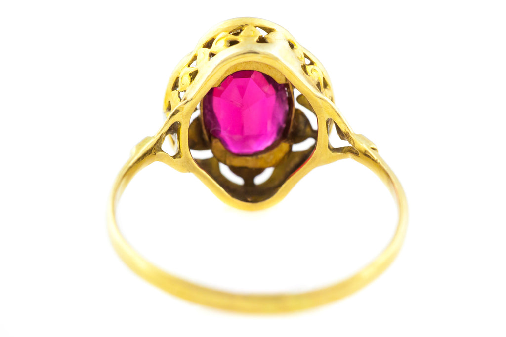 Antique French Paste Ring in 18ct Gold - Ruby Paste Ring c.1920