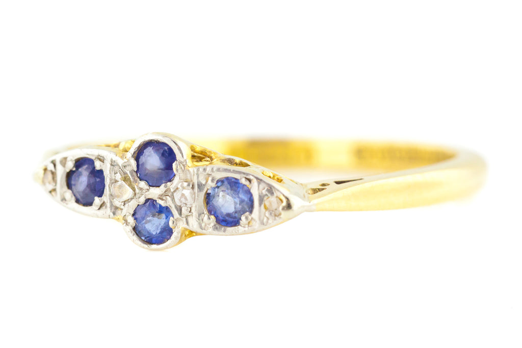 18ct Gold Art Deco Sapphire and Diamond Cross Ring