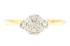 Stunning 18ct Gold Art Deco Diamond Ring - Art Deco Diamond Cluster Ring c.1920