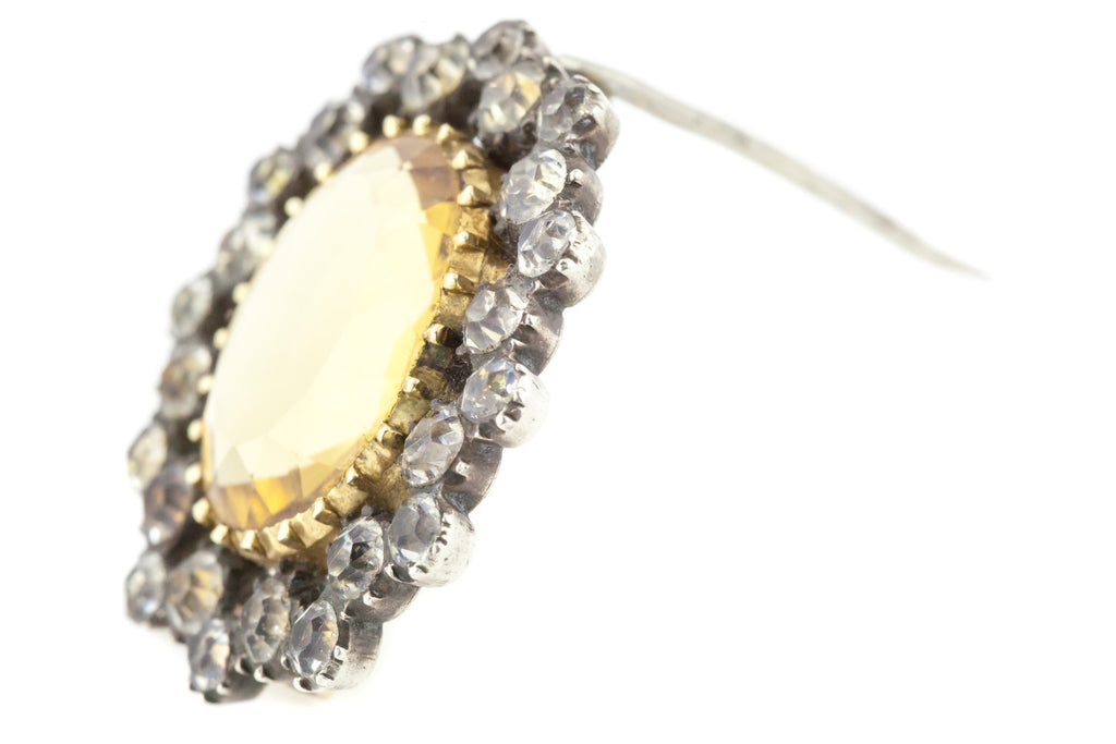 Antique Georgian Citrine and Paste Brooch, with Chain c.1830