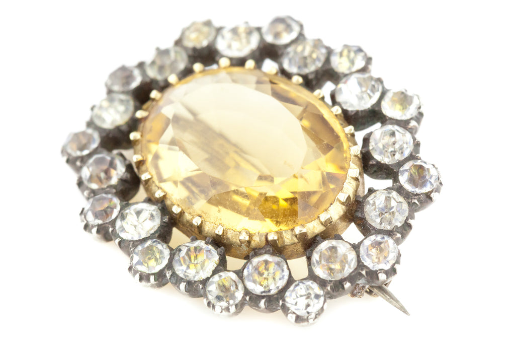 Antique Georgian Citrine and Paste Brooch c.1830