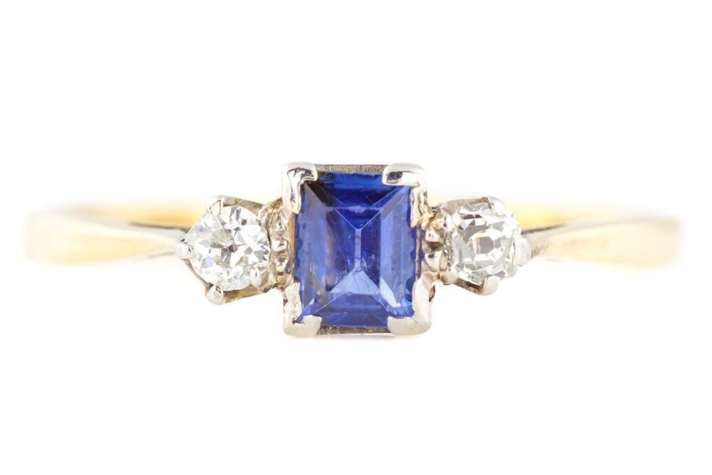 9ct Art Deco Sapphire & Diamond Trilogy Ring