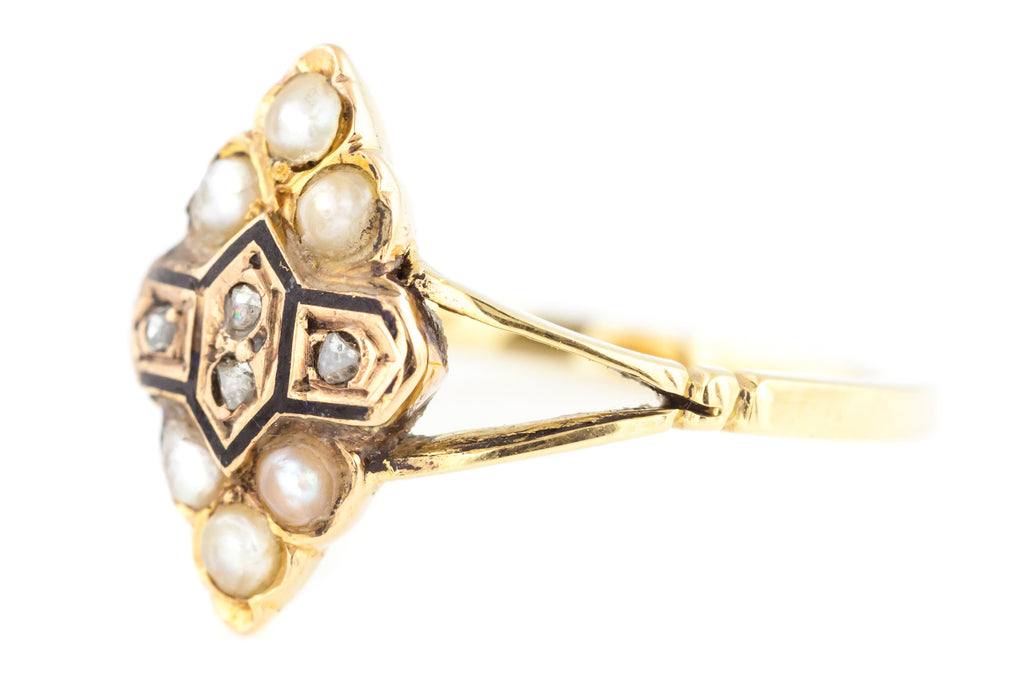 9ct Gold Victorian Navette Ring with Enamel, Diamonds & Pearls