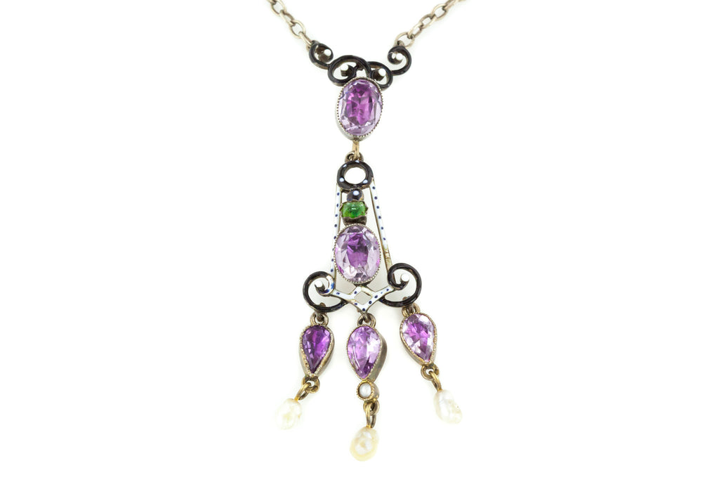 Superb Antique French Enamel and Amethyst Drop Pendant Necklace c.1870