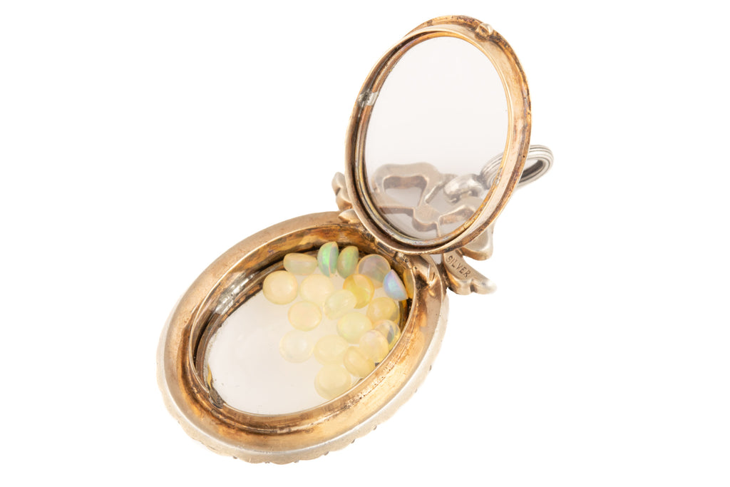 Edwardian Silver Paste Shaker Locket with Opals