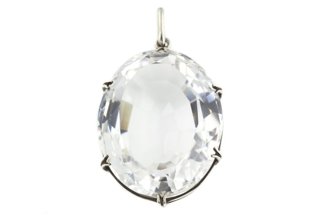 Art Deco Rock Crystal Pendant, with Chain c.1930 (69.51ct)