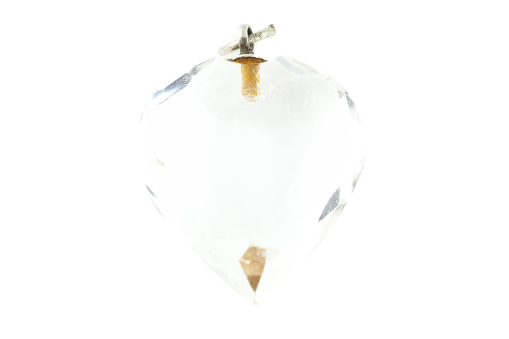 Art Deco Rock Crystal Heart Pendant with 18