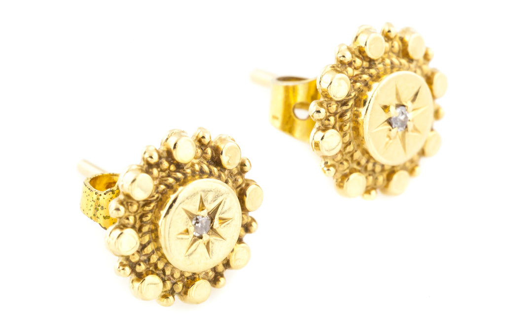 Victorian Revival 9ct Gold Diamond Stud Earrings