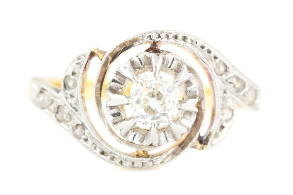 18ct Gold French Art Deco Diamond Ring (0.30ct)