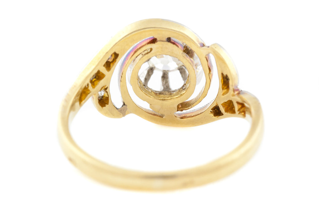 18ct Gold French Art Deco Diamond Ring (0.30ct) // Art Deco Diamond Swirl Ring