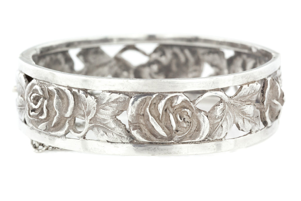 Antique Silver Bangle with Wild Roses c.1900
