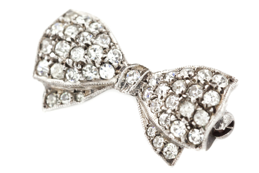 Art Deco Bow Brooch // Art Deco Silver Paste Brooch c.1930
