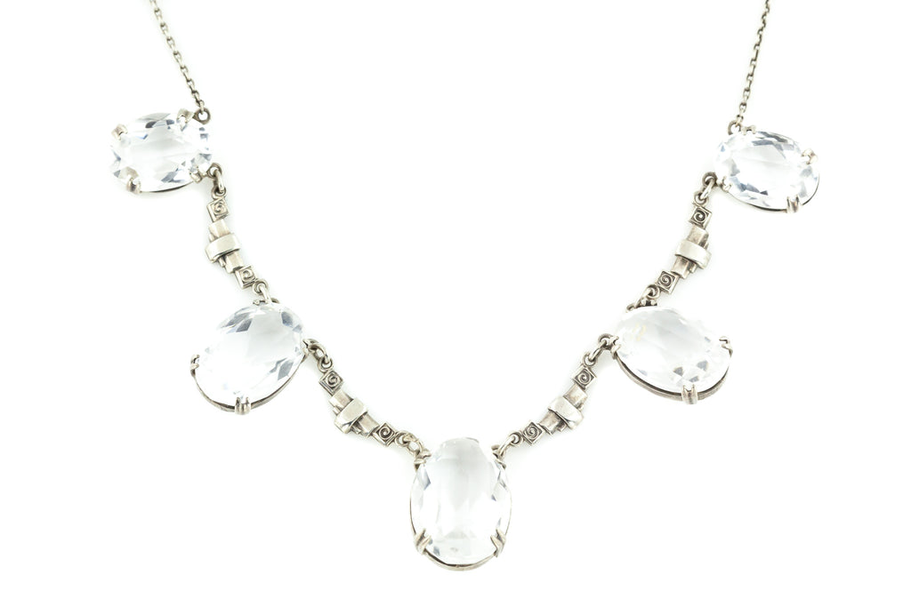 Art Deco Silver Rock Crystal Necklace c.1920