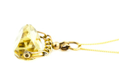 9ct Gold Antique Citrine Fob Pendant, with Chain c.1901