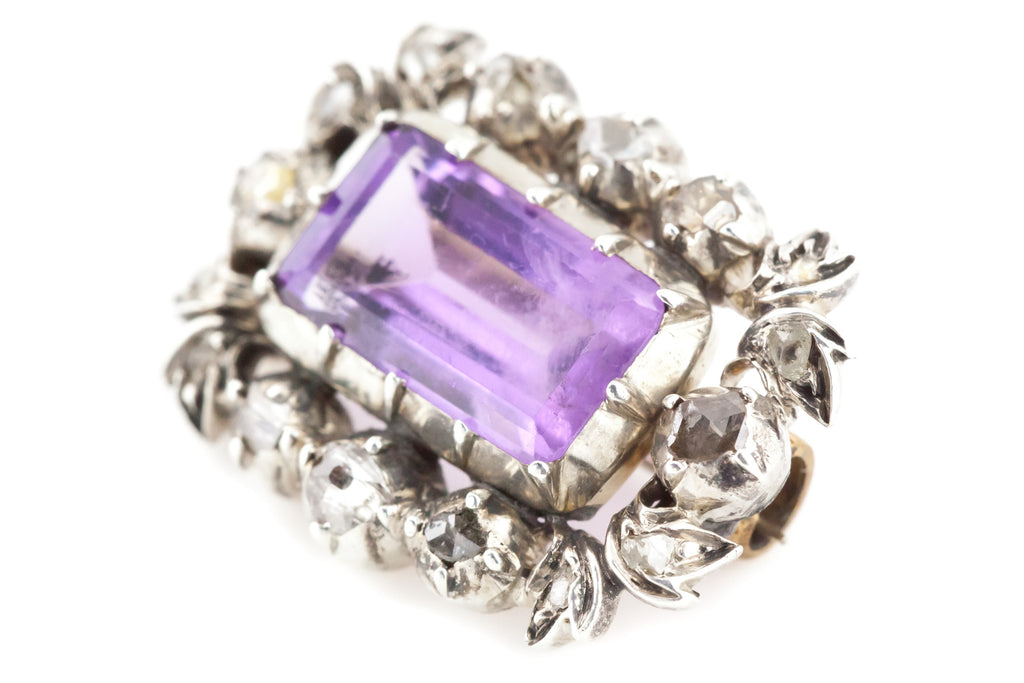 Georgian Silver Amethyst & Diamond Brooch