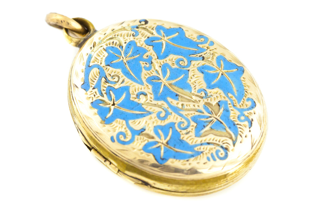 9ct Gold Victorian Enamel Locket with Ivy Motif c.1890
