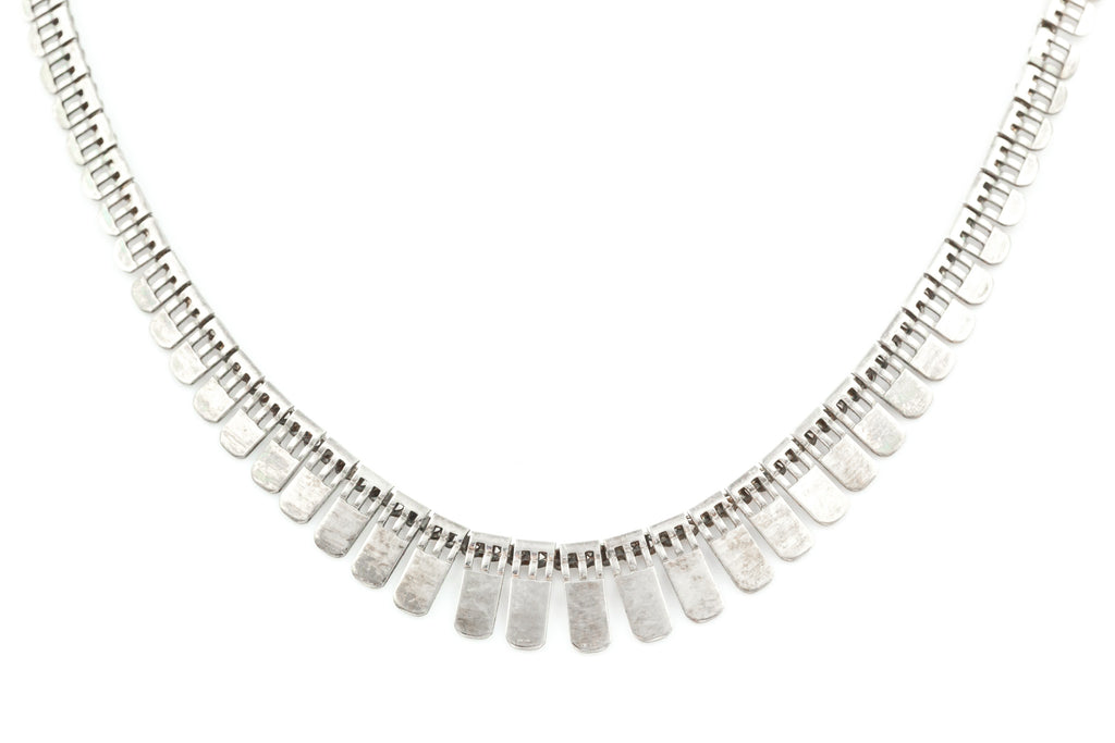 Vintage Silver Fringe Necklace - Boho Silver Necklace