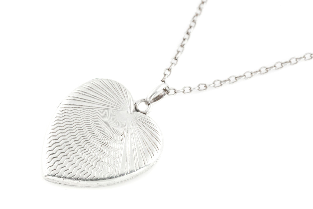 Art Deco Silver Heart Locket, with Chain c.1920