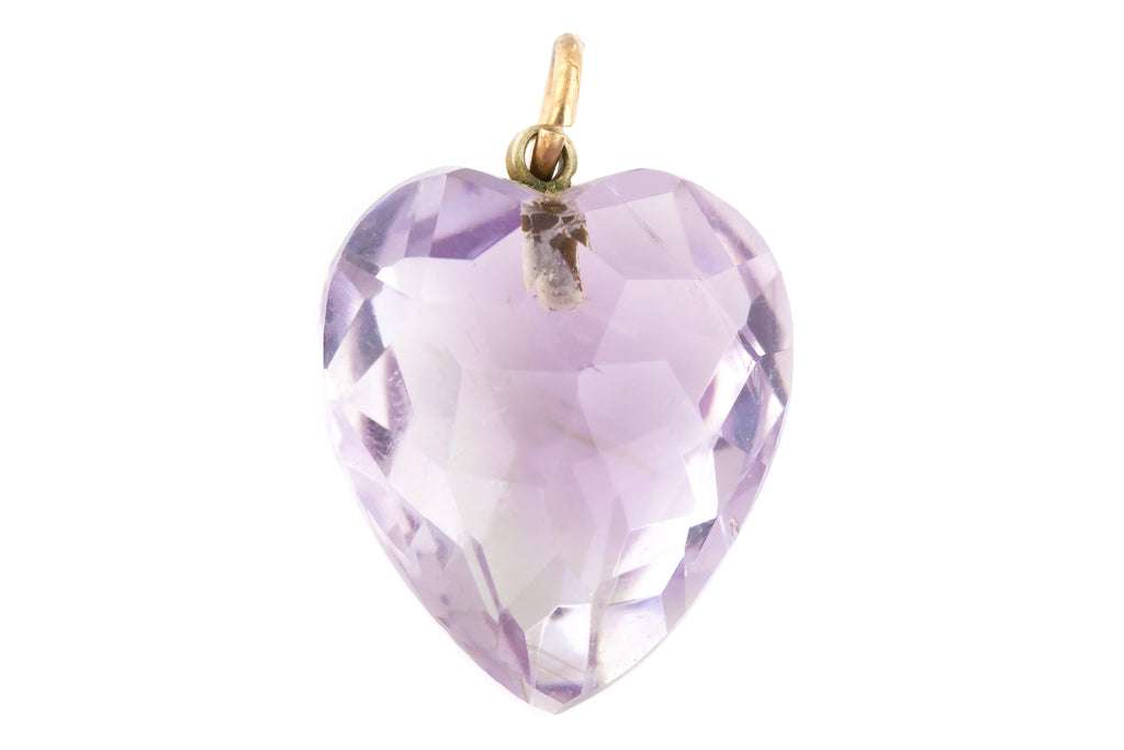 Antique Amethyst Heart Charm Pendant c.1900