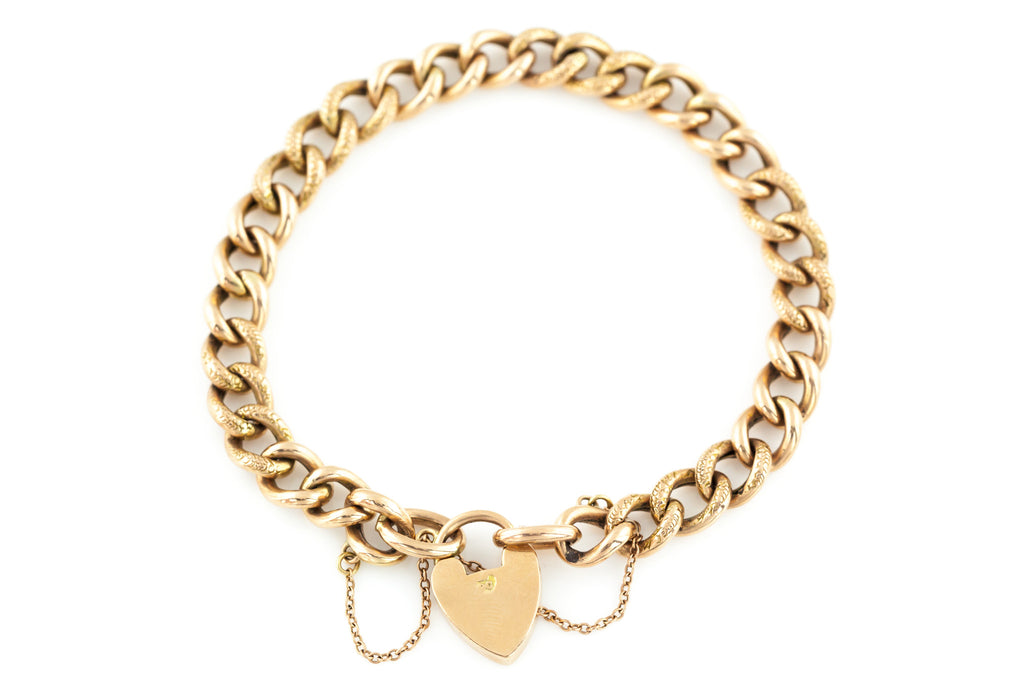 Antique 9ct Rose Gold Bracelet with Heart Padlock c.1900