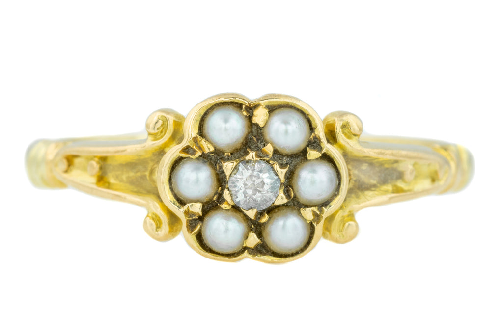 18ct Gold Victorian Pearl & Diamond Cluster Ring c.1860