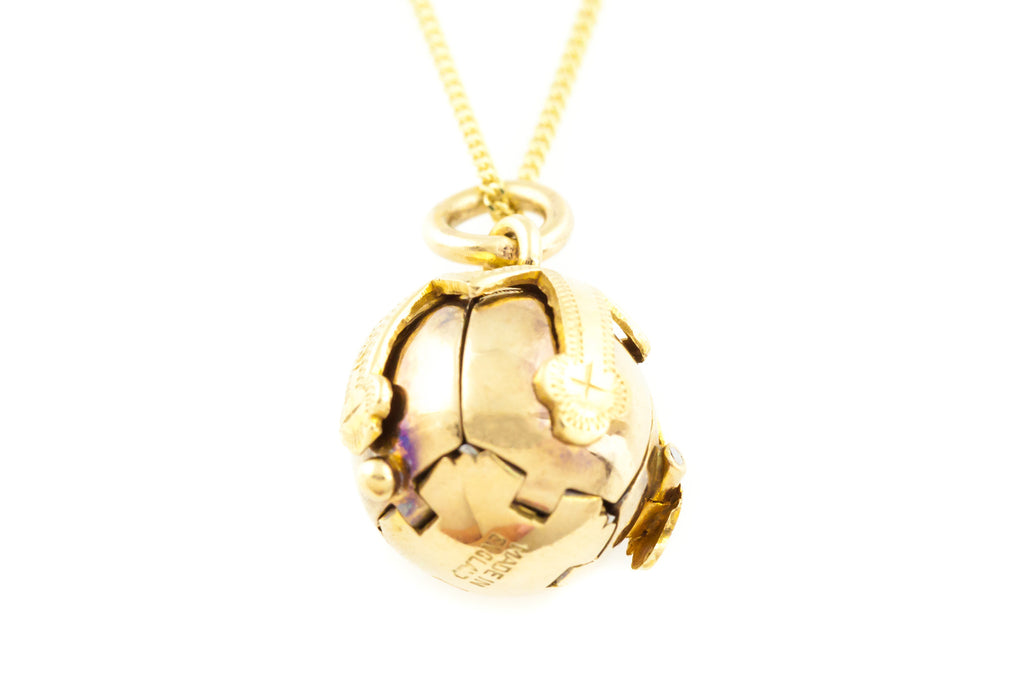 Antique Masonic Ball Pendant in 9ct Gold & Sterling Silver with Chain