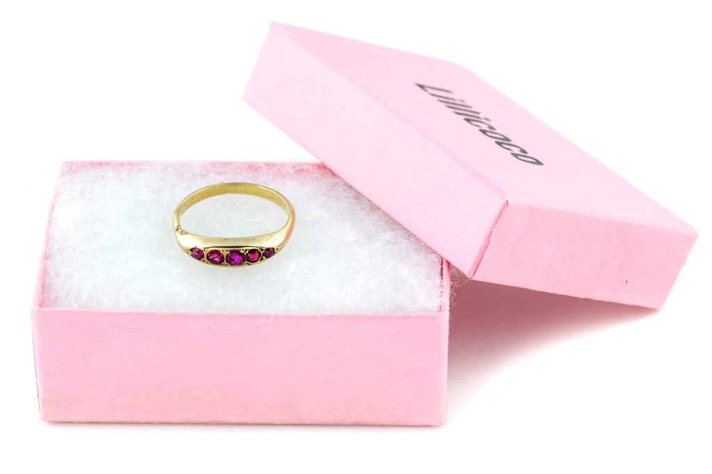 Antique 9ct Gold Ruby Five Stone Ring