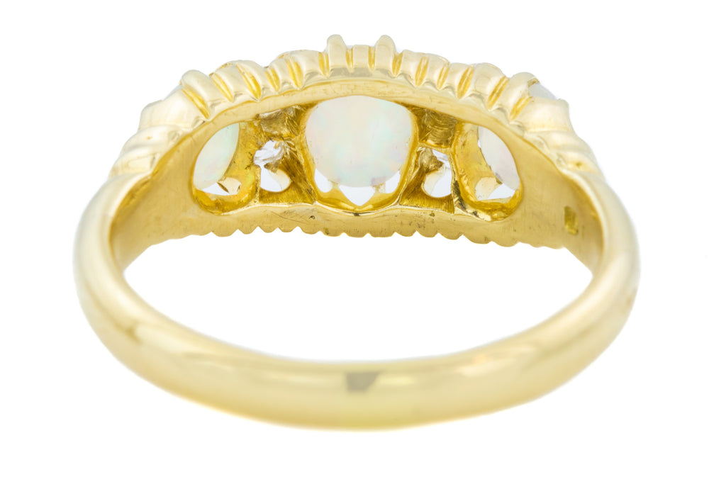 Edwardian Opal Diamond Boat Ring c.1902