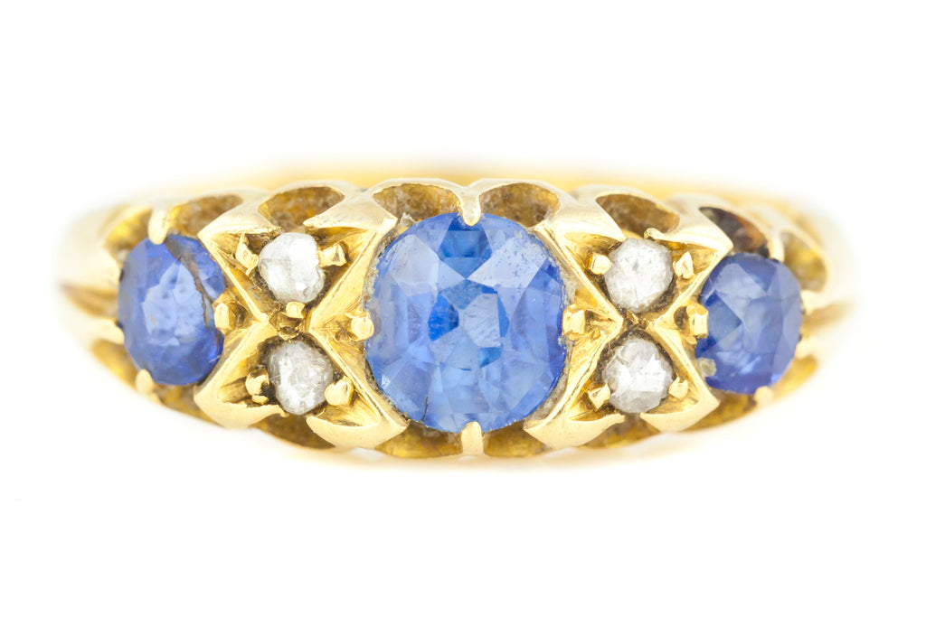 Antique 18ct Gold Sapphire & Rose Cut Diamond Ring c.1900