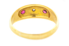 Antique 18ct Gold Ruby & Diamond Gypsy Ring c.1912