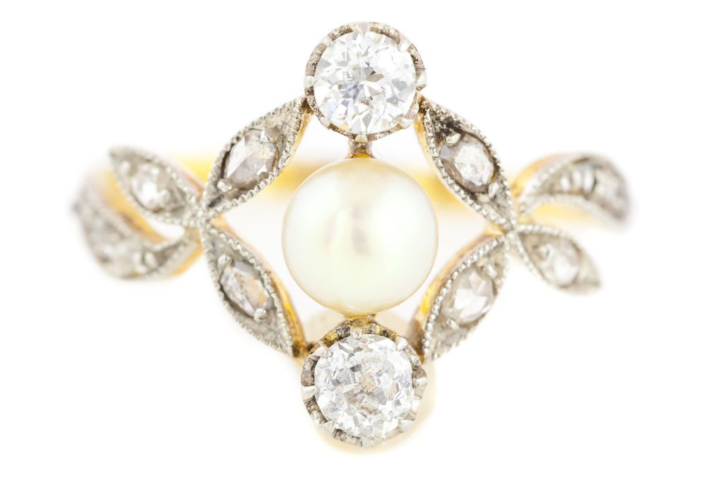 Antique French Diamond & Pearl Art Nouveau Ring c.1900