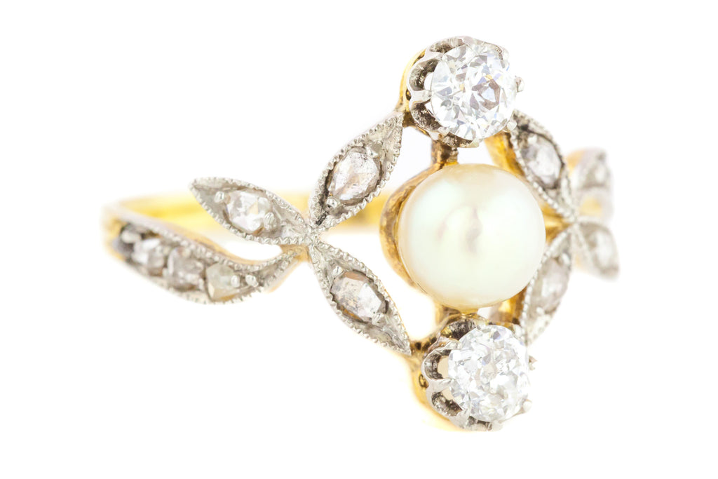 RESERVED (LAYAWAY 2/3) Antique French Diamond & Pearl Art Nouveau Ring c.1900