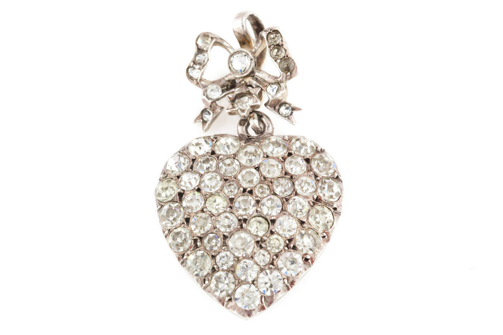 Victorian Silver Pave Set Heart Pendant with Bow and Star