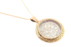 Antique Gold Diamond Shaker Locket, with 9ct Rose Gold Chain c.1905