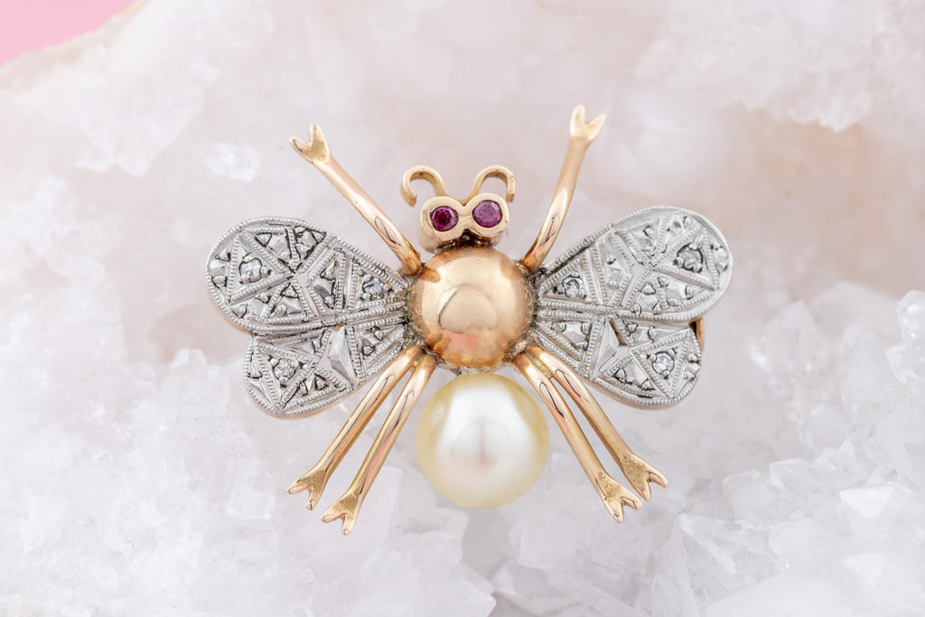 Art Deco Diamond and Pearl Bug Brooch with Ruby Eyes